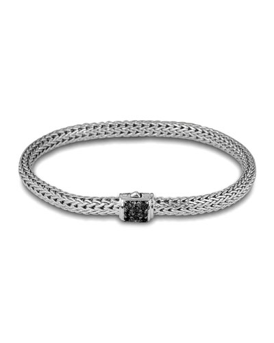 Classic Chain 5mm Extra-Small Braided Silver Bracelet, Black Sapphire