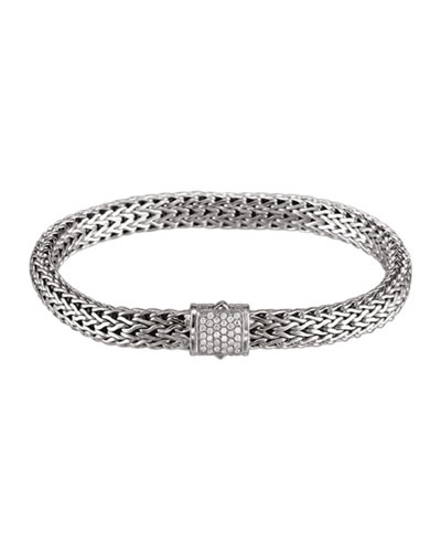 Small Chain Bracelet with Diamond Pave Clasp