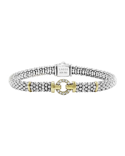 Sterling Silver & 18k Gold Rope Bracelet with Diamonds, 6mm