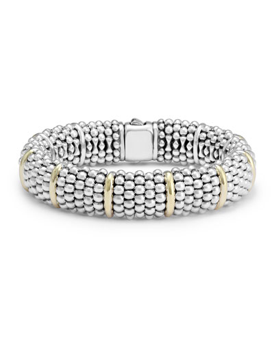 Silver Caviar Oval Bracelet with 18k Gold, 15mm