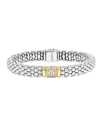 Silver Caviar Bracelet with 18k Gold, 9mm
