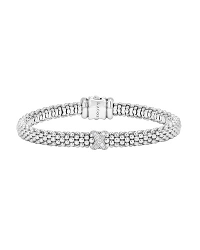 Silver Caviar Diamond X Bracelet with 18k Gold, 6mm