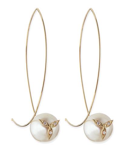 14k Gold Diamond Flower on Pearl Earrings