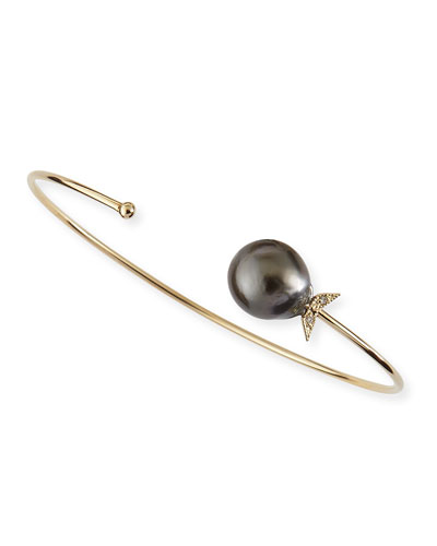 14k Gold Black Tahitian Pearl Cuff with Diamonds