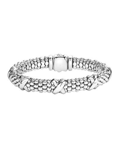 Silver Caviar X Bracelet, 9mm