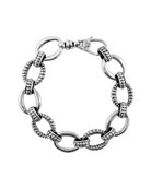 Silver Small Caviar & Fluted Link Bracelet, 15mm