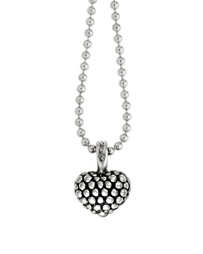 Caviar Beaded Heart Pendant Necklace, 35