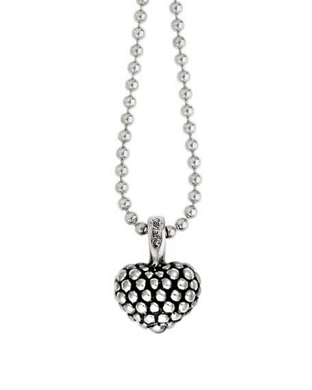"Lagos Caviar Beaded Heart Pendant Necklace, 35""L"