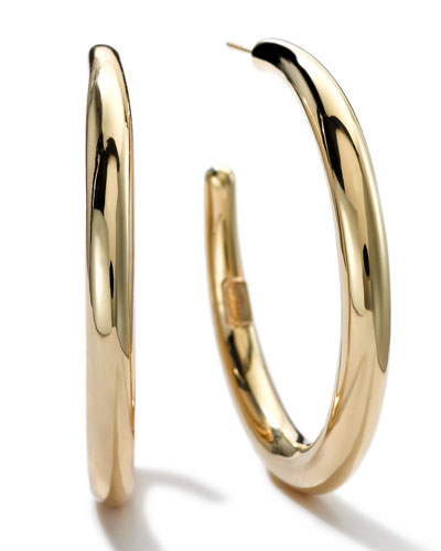 18K Gold #3 Smooth Hoop Earrings