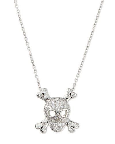 18K White Gold Diamond Skull & Crossbones Necklace