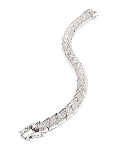 Small Rhodium-Plated Pave Crystal Pyramid Bracelet