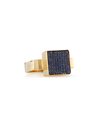 14k Gold Block Sapphire Ring