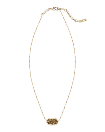 Elisa Iridescent Druzy Necklace, Golden