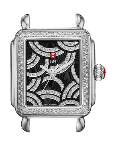 Art of Deco Diamond Watch Head, Black