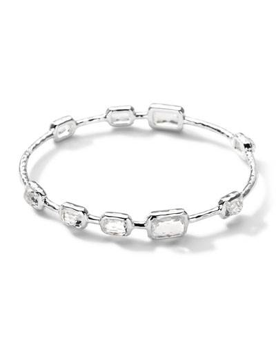 9-Stone Bangle in Clear Quartz, Size 2
