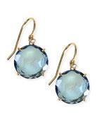 14k Yellow Gold Wire Drop Earrings in English Blue Topaz