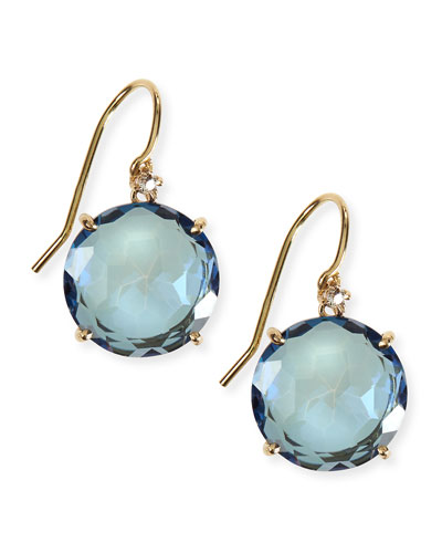 14k Yellow Gold Wire Drop Earrings in English Blue Topaz