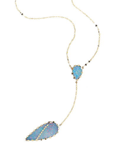 14k Frosted Lariat Necklace in Boulder Opal