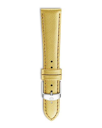 20mm Metallic Saffiano Leather Strap, Gold