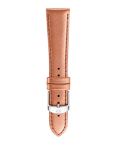 18mm Metallic Saffiano Leather Strap, Rose Gold