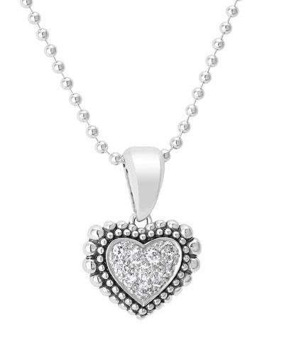Caviar Heart Diamond Pendant Necklace