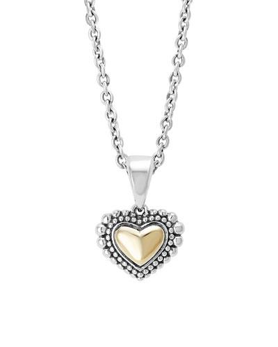 Silver & Gold Caviar Heart Pendant Necklace