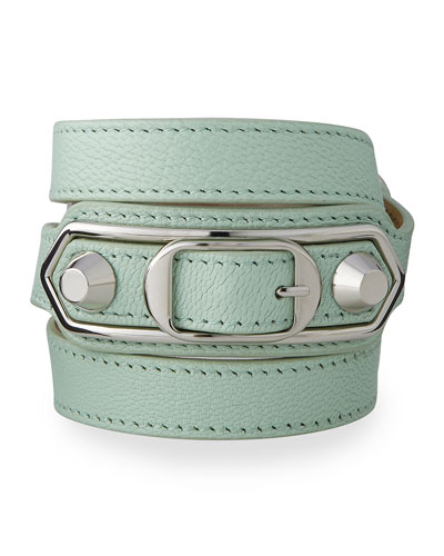 Classic Leather Wrap Bracelet, Mint