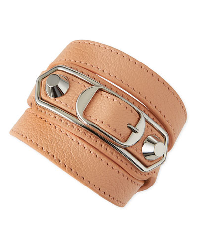 Classic Leather Wrap Bracelet, Pink