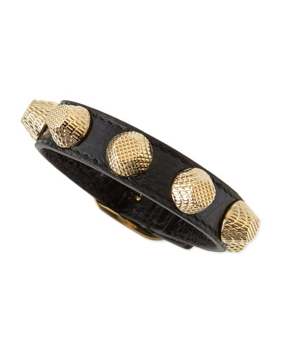 Leather Golden Stud Bracelet, Black