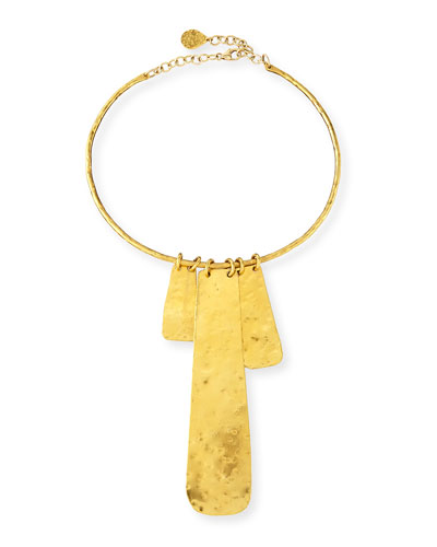 Gold-Dipped Hammered Medallion Necklace