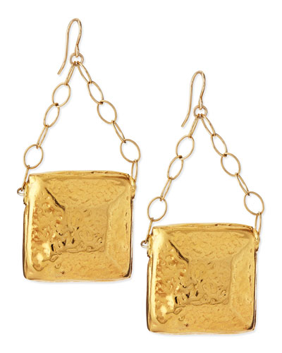 Gold-Dipped Square Medallion Earrings