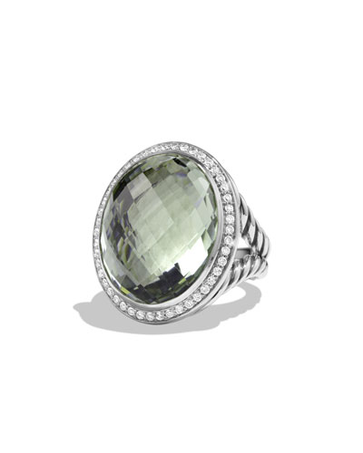 Oval Ring with Prasiolite and Diamonds