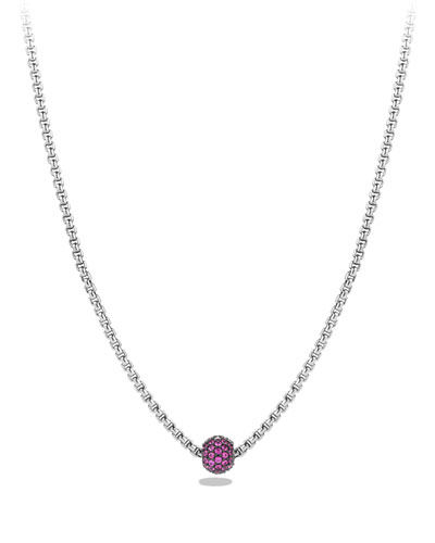Petite Pave Necklace with Pink Sapphires