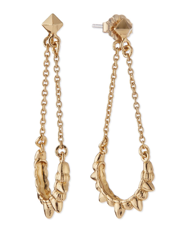 Tribal Spike Chain Drop Earrings, Gold-Plate