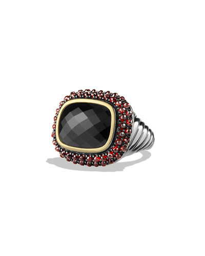 Osetra Ring with Black Onyx, Garnet and Gold