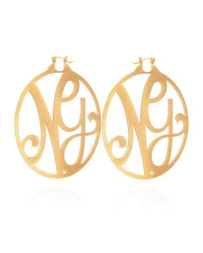 Monogram Large Signature Hoop Earrings, Yellow Gold Vermeil