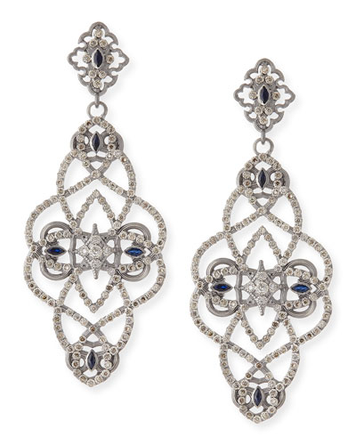 New World Diamond & Sapphire Scroll Earrings