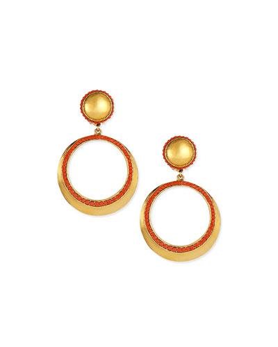 Coral Clip-On Hoop Earrings