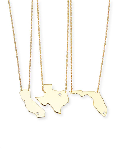 Personalized State Pendant Necklace, Gold, Alabama-Mississippi