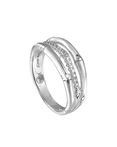 Bamboo Silver Ring with Diamonds