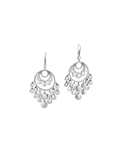 Palu Silver Disc Chandelier Earrings
