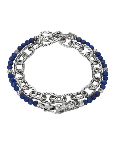 Naga Double Wrap Silver Link Bracelet with Lapis