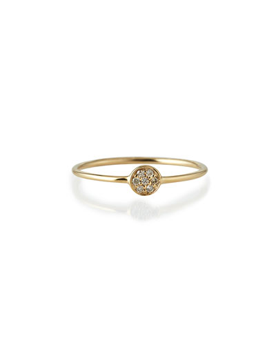 Yellow Gold Pave Diamond Disc Ring, Size 6