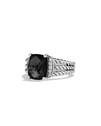 Petite Wheaton Ring with Black Onyx and Diamonds
