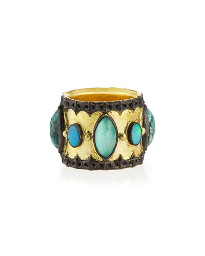 Green Turquoise & Opal Band Ring, Size 6.5
