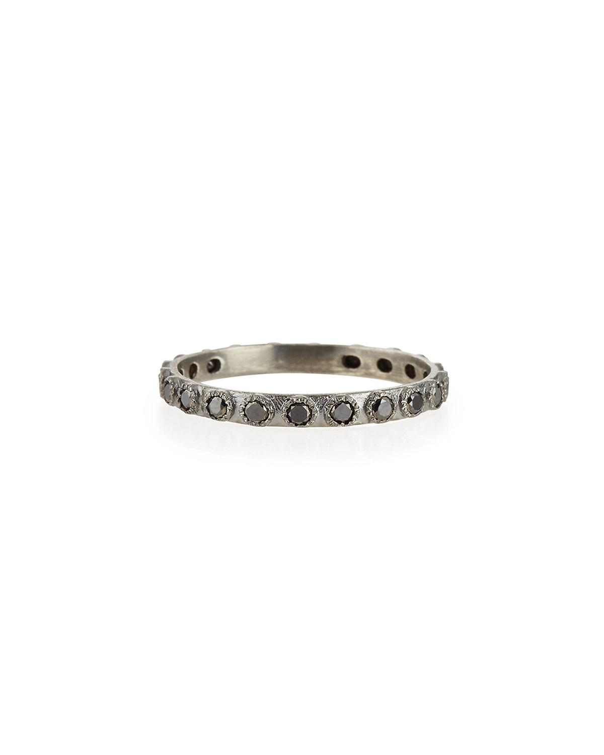 Black Diamond Silver Stackable Ring