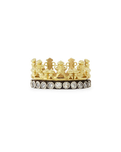 18k Gold & Midnight Diamond Crown Ring
