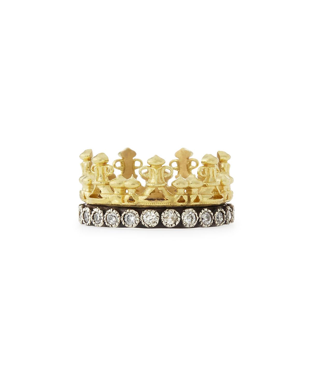 Old World 18k Gold Midnight Diamond Crown Ring