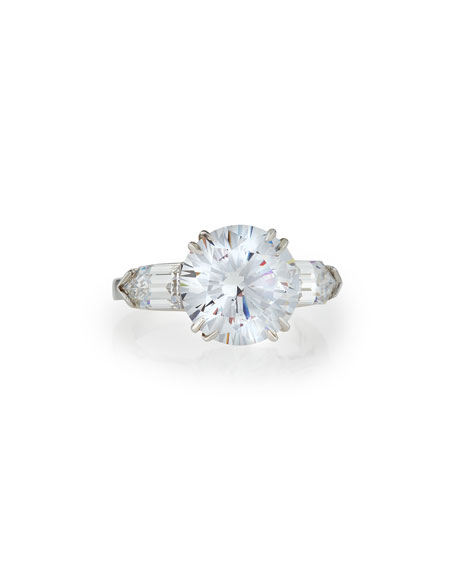 Fantasia by DeSerio Solitaire Cubic Zirconia Ring with Bullets, 6 TCW