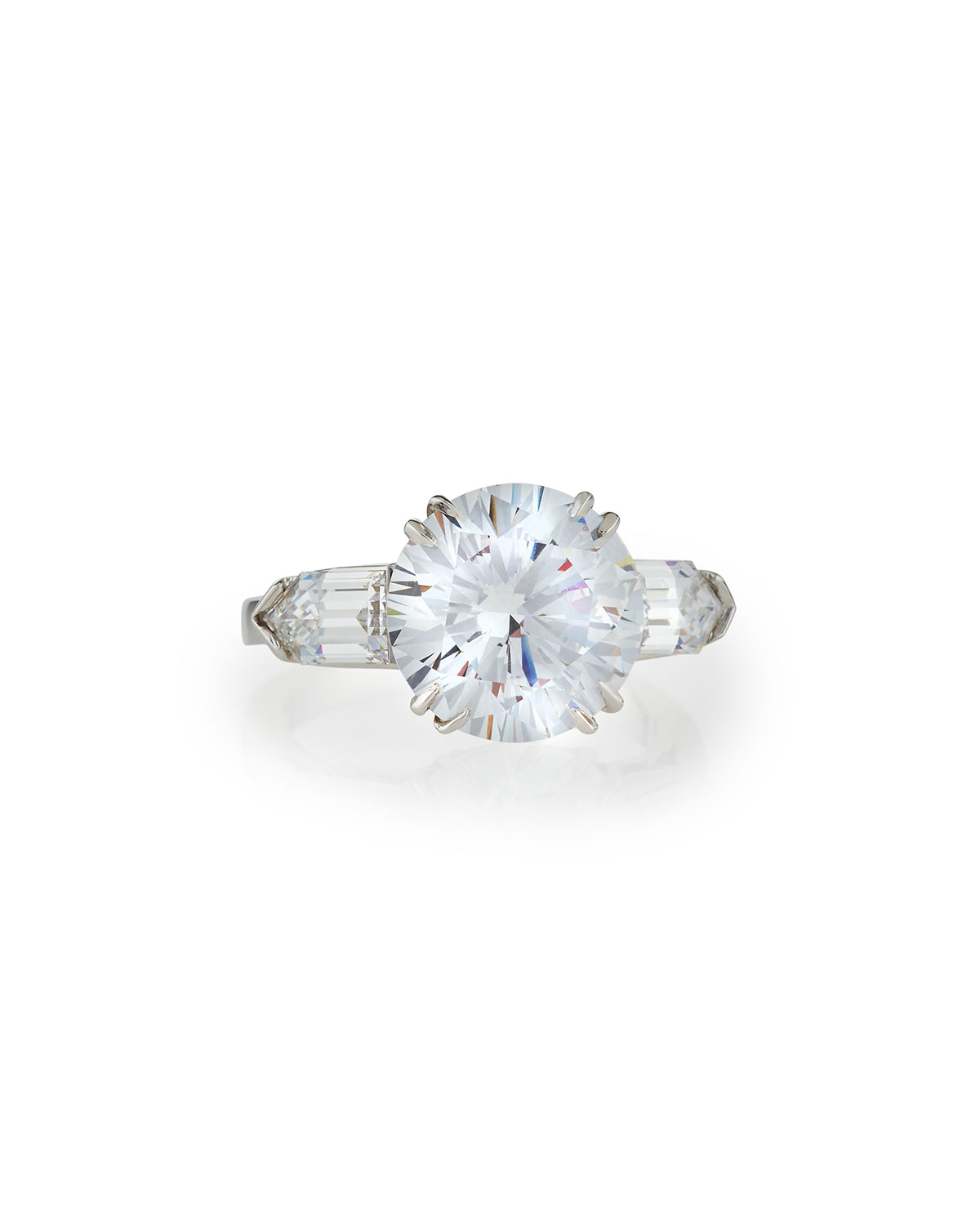 Solitaire Cubic Zirconia Ring with Bullets